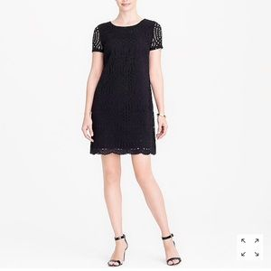 J. Crew Black Lace Dress with Scalloped Hem Size 8